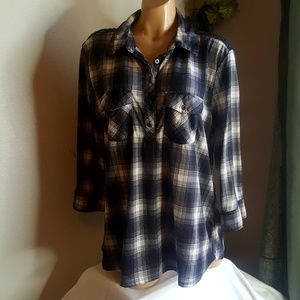 Polly & Esther black & white plaid button down 2X